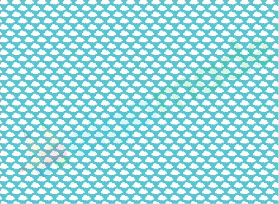 Фетр с принтом ОБЛАКА, 22x30 см, корейский жесткий 1.2 мм