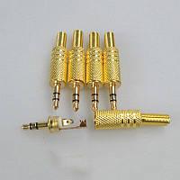 Jack 3,5 mm, папа, 3 pin, золотой, железный с пружиной