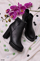 Женские ботильоны черные осенние на  каблуке 10 см эко- кожа