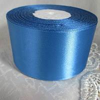 Стрічка атласна 5 см, світло синій
