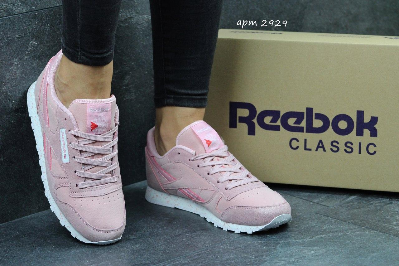 Жіночі шкіряні кросівки Reebok Classic -рожеві c2ef4310512fa