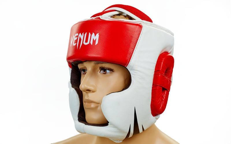 Шлем боксерский Venum Fullface кожа красный реплика