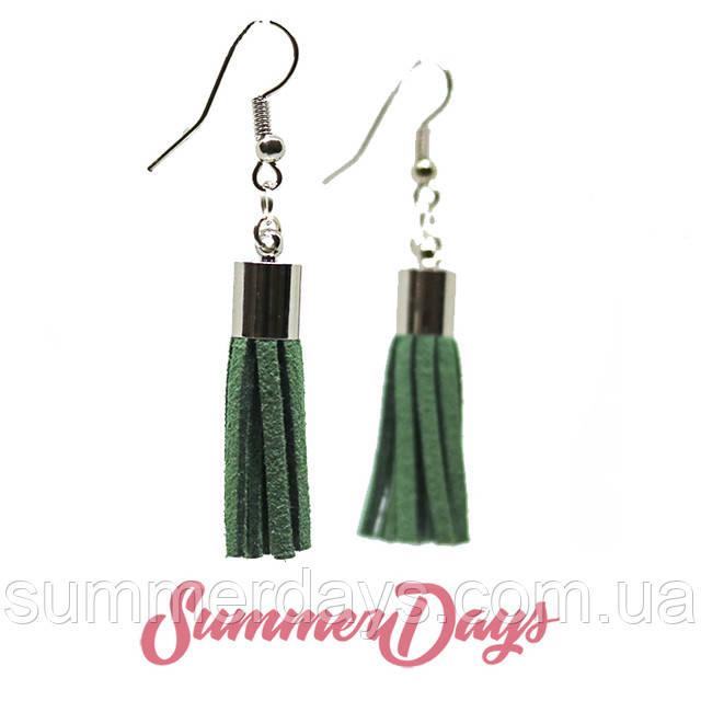 Серьги кисточки темно-зеленые