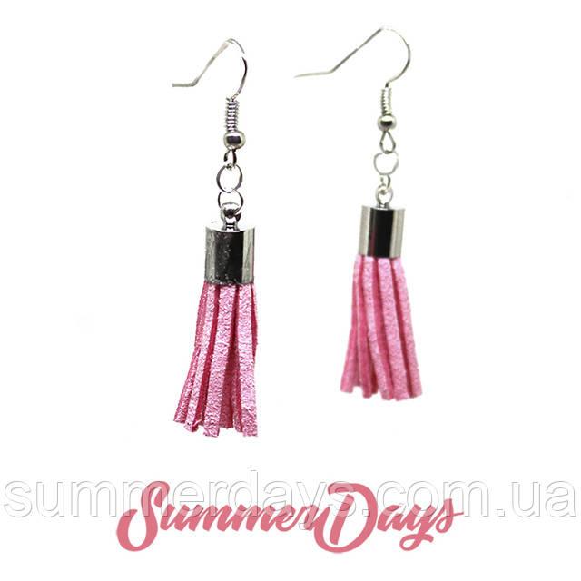 Серьги кисточки светло-розовые