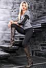 Женские чёрные леггинсы, размер 44 до 50, турецкий трикотаж, фото 2