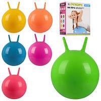 Мяч для фитнеса-45см MS 0380 (12шт) с рожками, 450г, 6 цветов, в кор-ке, 18-24-8см