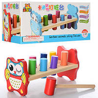 Деревянная игрушка Стучалка MD 0911 (50шт) молоток, цилиндры 8шт, в кор-ке, 24,5-11,5-10,5см