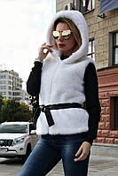 Жилет меховой Норка Капюшон №1, жилет из белой норки