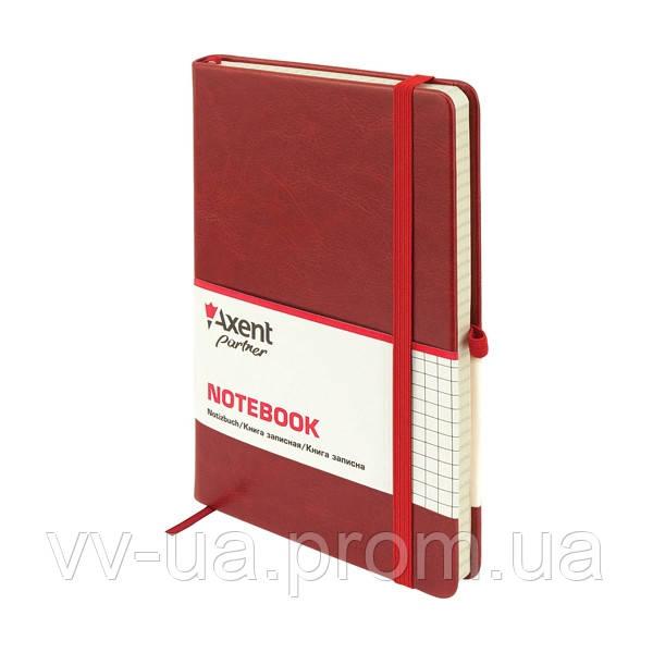 Книга записная Axent Partner Lux, А5-, обложка из термо-PU, 96 листов, клетка, бордовая