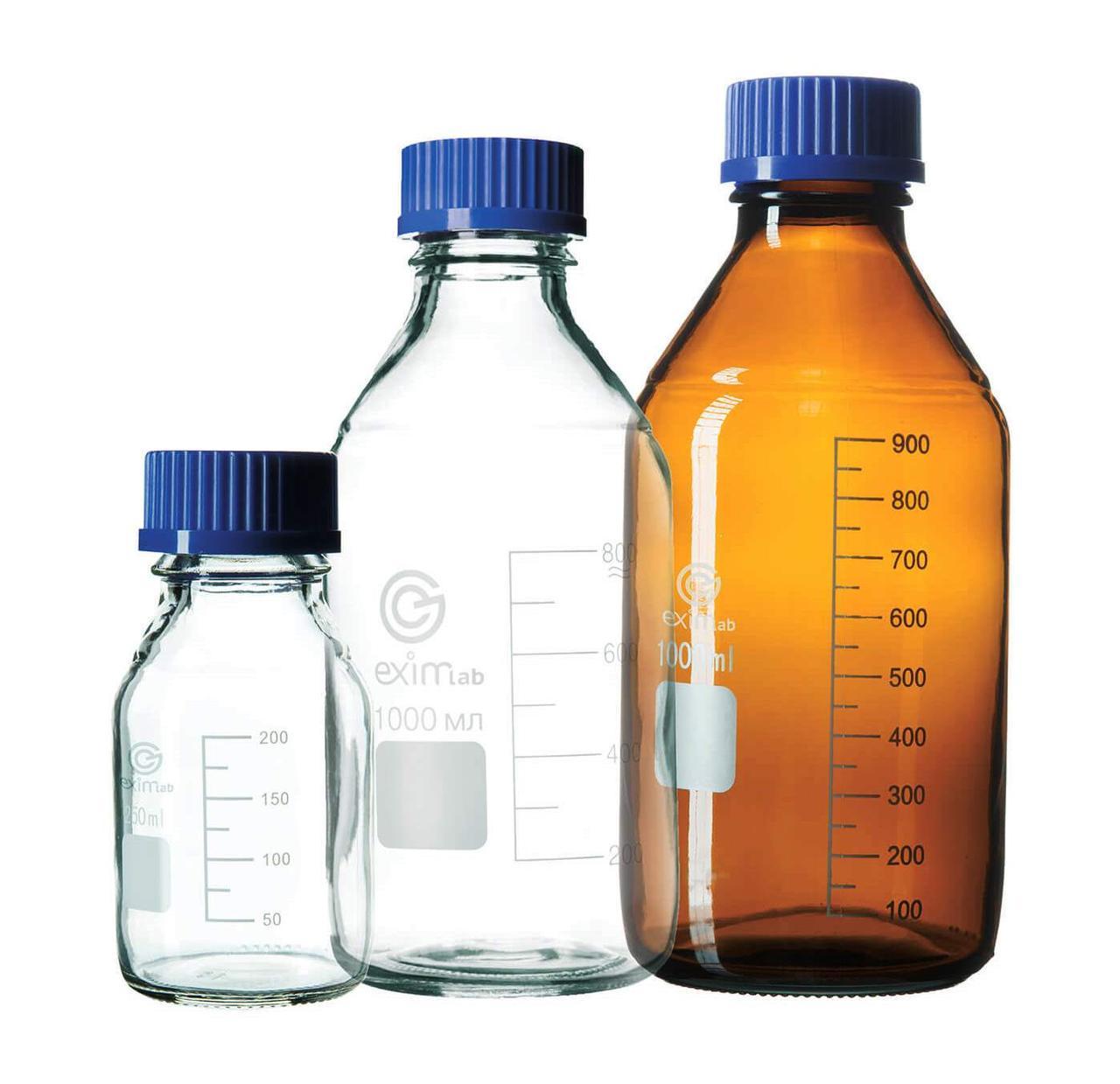 Бутыли для реактивов с винтовой крышкой и делениями