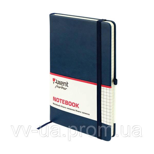 Книга записная Axent Partner Lux, А5-, обложка из термо-PU, 96 листов, клетка, синяя (8202-02-A)