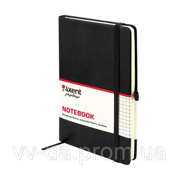Книга записная Axent Partner Lux, А5-, обложка из термо-PU, 96 листов, клетка, черная