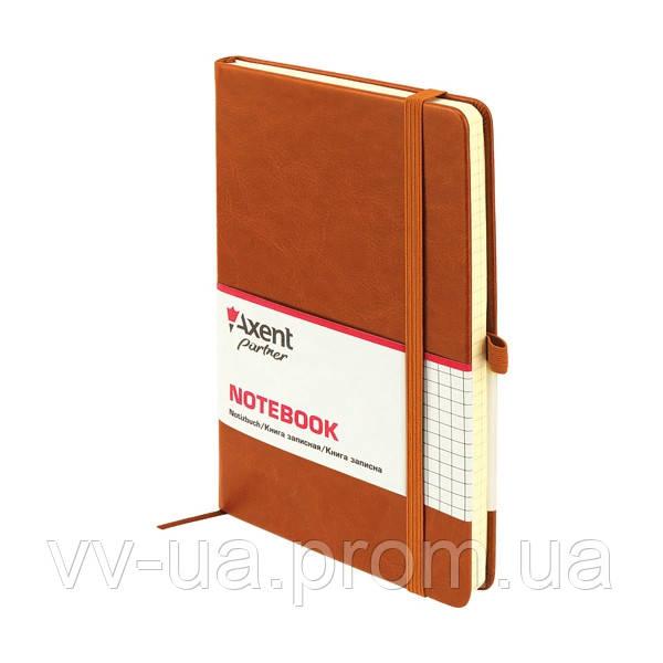 Книга записная Axent Partner Lux, А5-, обложка из термо-PU, 96 листов, клетка, коричневая