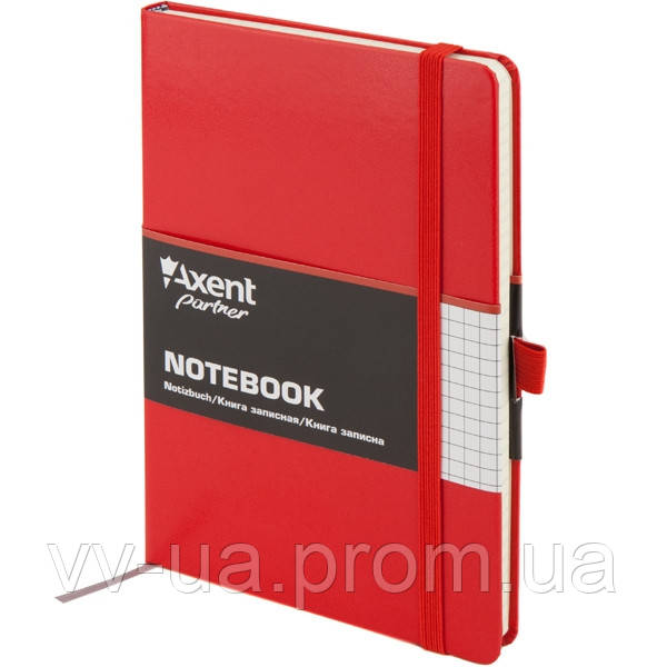 Книга записная Axent Partner, А5-, виниловая обложка, 96 листов, клетка, красная