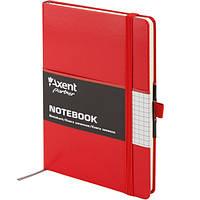 Книга записная Axent Partner, А5-, виниловая обложка, 96 листов, клетка, красная, фото 1