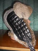 Шапка евроушанка, мужская из меха кролика, колпак кожзам