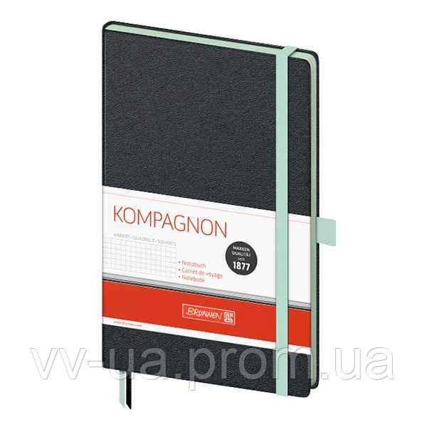 Книга записная Brunnen Компаньон черная с бирюзовым срезом, А5, клетка (10-557 28 57)