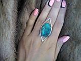 Хризоколла в серебре кольцо с хризоколлой размер 17,5 Индия, фото 4