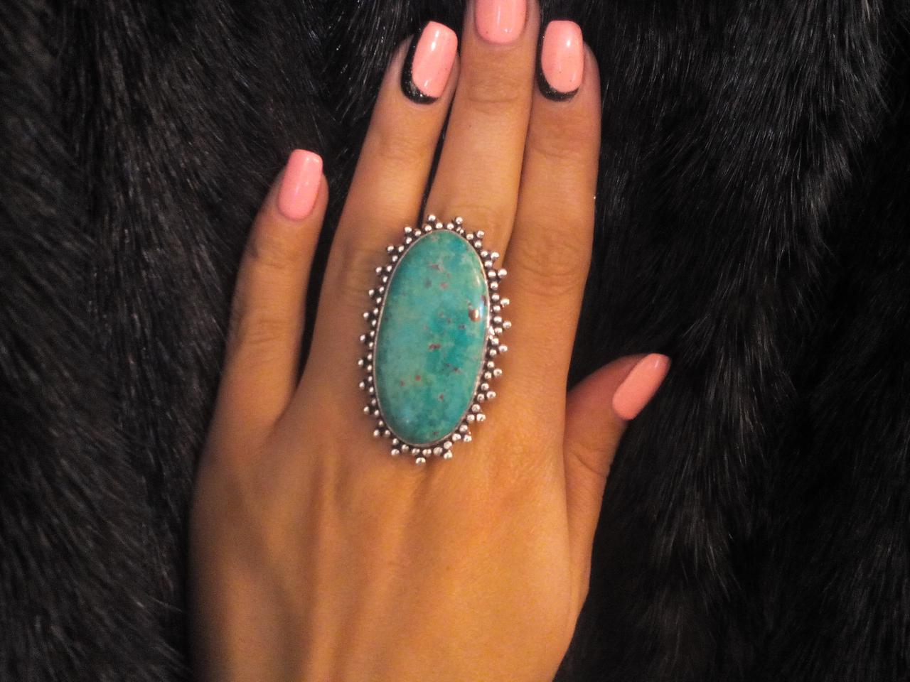 Хризоколла кольцо с хризоколлой в серебре. Размер 19,5-20. Индия