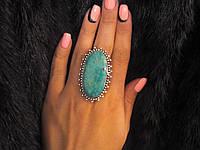 Хризоколла кольцо с хризоколлой в серебре. Размер 19,5-20. Индия, фото 1