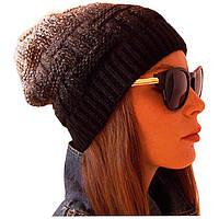 Женская вязаная шапка - носок объемной ручной вязки с градиентом