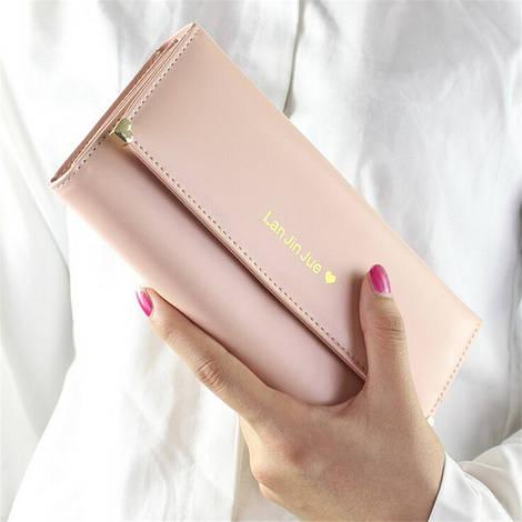 Великолепный женский кошелек бежевого цвета Lan Jin Jue