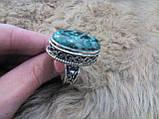 Кольцо хризоколла в серебре. Размер 19,8. Индия!, фото 3