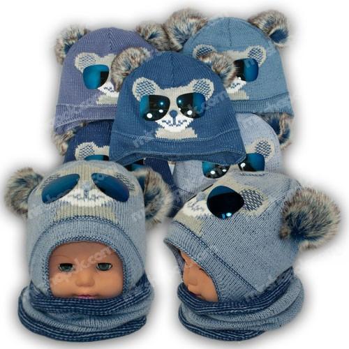 Детский комплект - шапка и шарф (хомут) для мальчика, p. 42-44, Ambra (Польша), утеплитель Iso Soft, R4