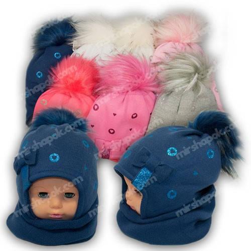 Комплект - шапка и шарф (хомут) для девочки, p. 48-50, Ambra (Польша), утеплитель Iso Soft, N51