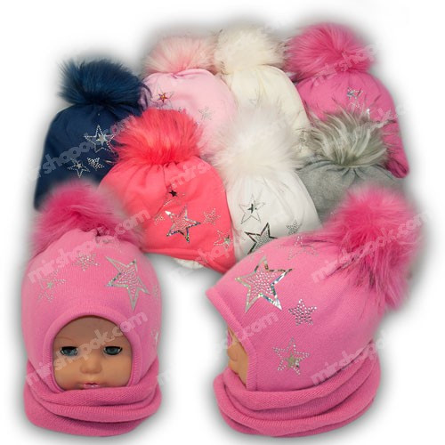 Комплект - шапка и шарф (хомут) для девочки, p. 48-50, Ambra (Польша), утеплитель Iso Soft, N48