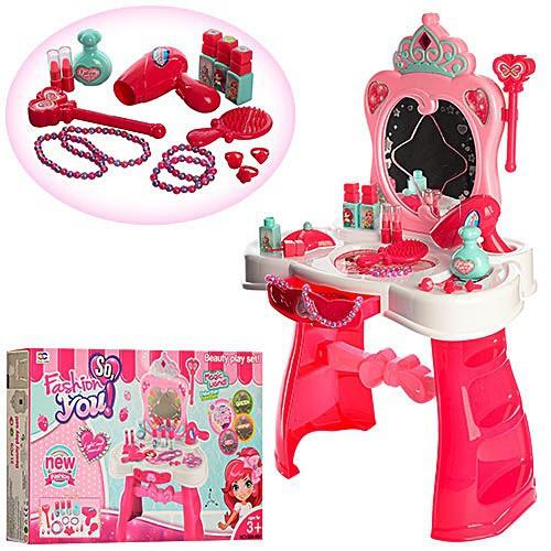 Ролевые игровые наборы для девочек Парикмахер Трюмо / туалетный столик 008-907 - с аксесс. стул