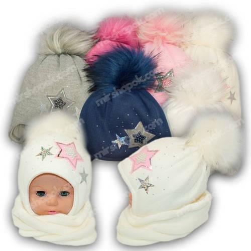 Комплект - шапка и шарф (хомут) для девочки, p. 48-50, Ambra (Польша), утеплитель Iso Soft, N46