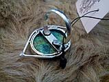 Оригинальное кольцо хризоколла в серебре. Размер 17,5-18. Индия!, фото 8