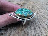 Оригинальное кольцо хризоколла в серебре. Размер 17,5-18. Индия!, фото 3