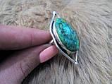 Оригинальное кольцо хризоколла в серебре. Размер 17,5-18. Индия!, фото 5