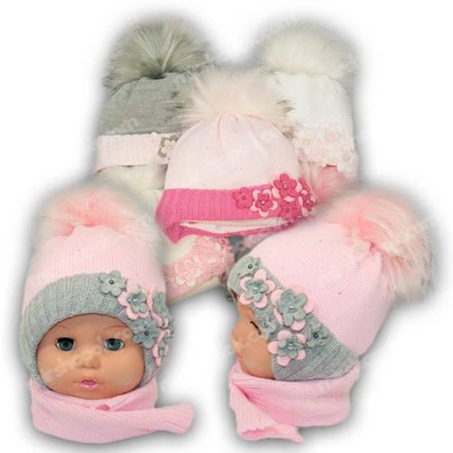 Комплект - шапка и шарф для девочки, p. 44-46, Ambra (Польша), утеплитель Iso Soft, G9
