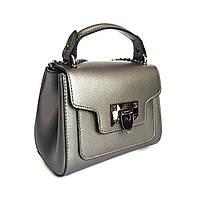 Маленькая сумочка, кожа, Италия, цвет никель, фото 1