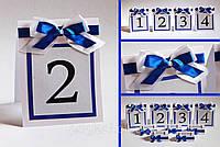 Номер односторонний на свадебный стол с двойным бантом для свадьбы в синем