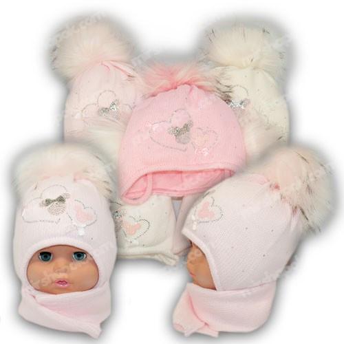 Комплект - шапка и шарф для девочки, p. 38-42, Ambra (Польша), утеплитель Iso Soft, C10