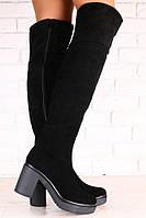 Демисезонные и Зимние женские ботфорты, из натуральной замши, черные, на небольшом устойчивом каблуке