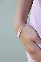Бусинки в два ряда - серебряный браслет 925 пробы