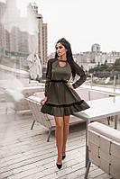 Платье женское Ткань Мемори и сеточка , Длина по спинке 94 см Цвет хаки, Бардо, чёрный  ркот№147-275