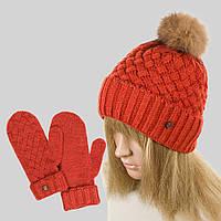 Комплект WK-589 шапка варежки Лиса
