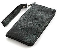 Удобный кожаный чехол-футляр с кармашком для телефона на молнии ручная работа big  (101109)