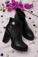 Женские ботильоны с камнем осенние  на каблуке 8,5 см эко-кожа
