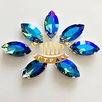 Cтразы в цапах, форма Лодочка, 9х18мм, цвет Sapphire AB