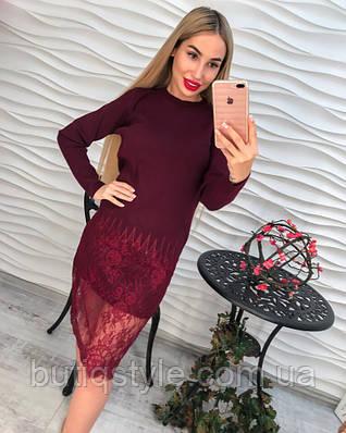 Стильное платье с кружевом розовое, серое тренд осени 2017