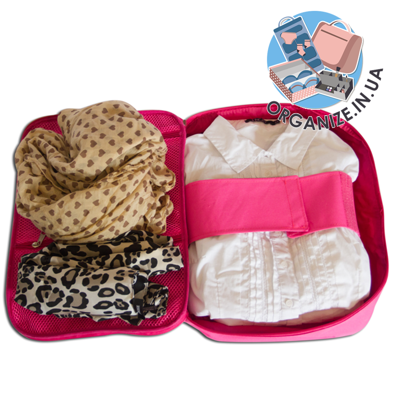 Органайзер для рубашек на 3 шт / для путешествий ORGANIZE (розовый)