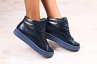 Женские ботинки, демисезонные, на шнурках, цвет - индиго