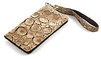 Удобный кожаный чехол-футляр с кармашком для телефона на молнии ручная работа big  (101123)